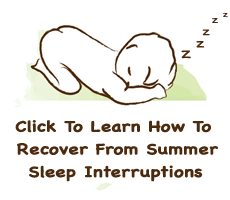 Graphic of sleeping baby with click here to learn how to recover from summer sleep interuptions
