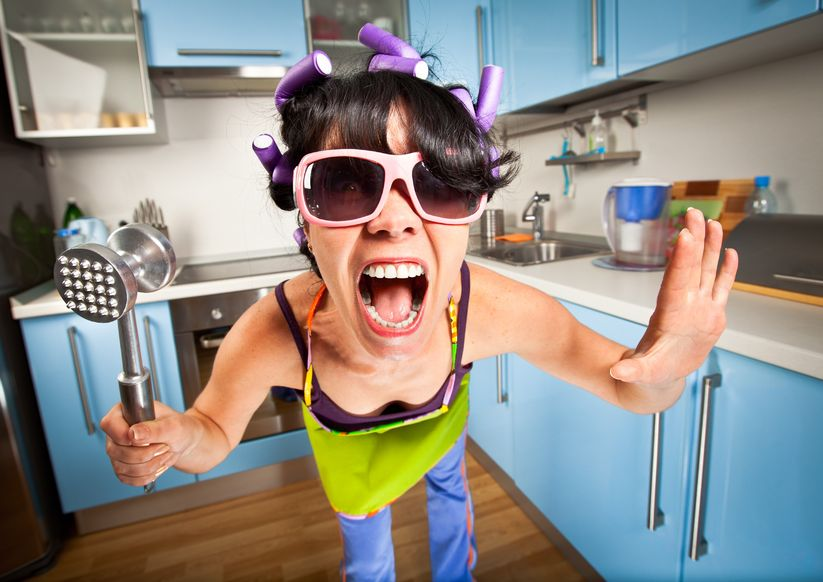 Crying and regulating emotional state photo of mother in kitchen going crazy